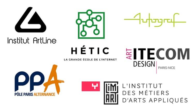 Logos des formations en jeux vidéos