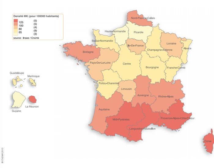 Densité des Masseurs-Kinésithérapeutes par régions en France.