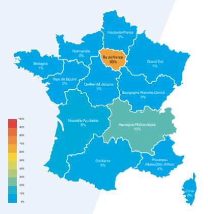 Carte de France: régions de recrutement dans le jeu vidéo